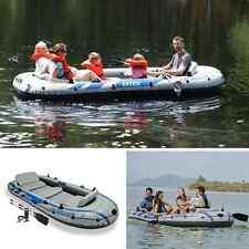 Inflatable Fishing Boat Kayak Rafting Zodiac Aluminium Oars Air Pump 5 Person