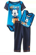 Disney Mickey Mouse 3 Piece Bodysuit Bib and Pant Set (0-3months)