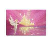 """Engelposter """"Siehst Du es?"""" Engelbild Wandposter 40x60cm Lila, Gold, Weiß"""