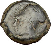 Syracuse Sicily 375BC Tyrant Dionysios Greek Coin ATHENA HIPPOCAMP Horse i15542