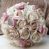 DUSKY BLUSH  VINTAGE PINK IVORY BROOCH ROSES BRIDES BOUQUET WEDDING FLOWERS