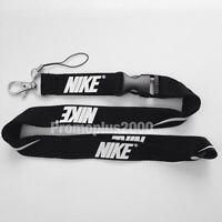Nike Lanyard Detachable Keychain iPod Camera Strap Badge ID Running Cell Blk