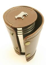 Butchers Cow Butchery 4 Stacking Stirrup Shot Cups in Leather Case NEW