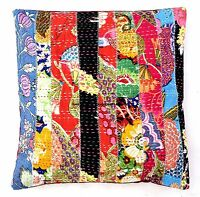 Patchwork Kantha Quilted Cotton Cushion Cover Sofa Decor Indian Pillow Cover 16""