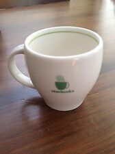 Starbucks 2003 Barista Abbey II Mug Off White Green 7.5 oz. side cup small EXC