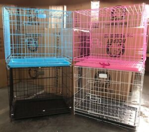 Pet cage with wire cage FoldingTraining  Crate Travel  Blue Pink Metal Cage