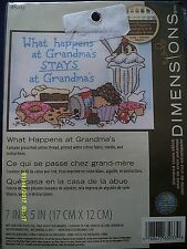 """Dimensions """"What Happens at Grandma's"""" Stamped Cross Stitch Kit Size 7"""" x 5"""""""