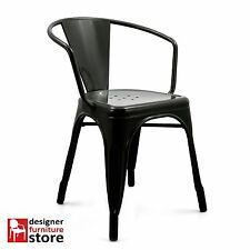Replica Tolix Stackable Metal Armchair - Black (Indoor/Outdoor)