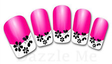 3D Nail Art Decals Transfer Stickers French Tip Design Flowers (3D845)