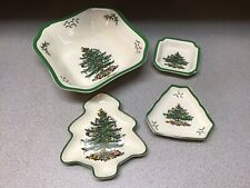 Lot 4 Spode Serving Dishes Christmas Tree Shaped Candy Serving Dishes Triangle