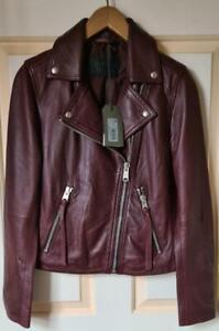 All Saints Dalby Leather Biker Jacket Pink Raspberry/Burgundy Size 8 BNWT £329
