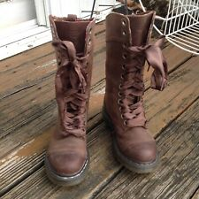 Dr Martens Triumph Brown Floral Lining Boots Brown Leather 6 37 UK 4 Cuff Combat