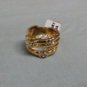 Premier Designs EXTRAORDINARY Gold Tone Crystal Band Ring Size 4 1/2 NEW
