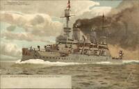 German Navy Battleship SMS Kaiser Friedrich III c1900 Postcard