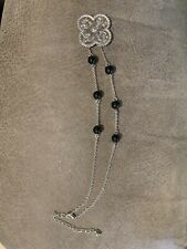 Silver Plated Necklace Accented With Black Beads & Silver Plate Flower Medallion