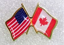 US and Canada crossed flags lapel pin, made in USA