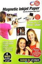 4 Sheets Gloss Magnetic Photo Paper Fridge Sticks Inkjets Printers Graphic Signs