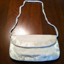 Vintage Walborg White Beaded Evening Purse Bag w/ Beaded Shoulder Strap Mint