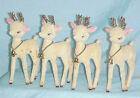 Christmas White Celluloid Plastic Flocked Velvet Reindeer Deer Gold Glitter