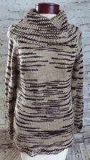 RXB Brown Tan Striped Cowl Neck Sweater Women's Size Small