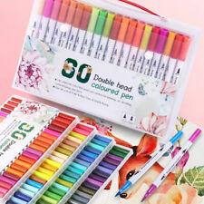 60 Colors Dual Tips Brush Drawing Pens Fine Tip Paint Watercolor Art Markers Set