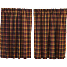 Heritage Farms Primitive Check Cotton Lined Country Window Cafe Tiers (2) Sizes