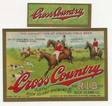 Rock Island Brewing Cross Country Beer label with neck IRTP U# IL