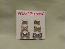 Betsey Johnson 'Sweet Shop' Crystal Bow Tie Stud Earrings Set of 3 NWT Beautiful