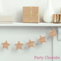 Rose Gold Wooden Star Garland - 1.5 metres - Christmas or Party Decoration