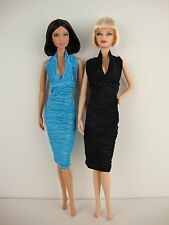 Set of 2 Stylish Little Party Dresses in Blue and Black Made to Fit Barbie Doll