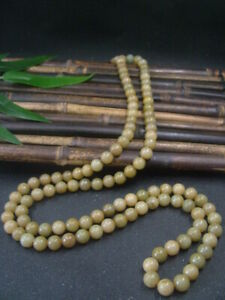 Antique Chinese Nephrite Celadon Hetian OLD Jade 10mm 108Beads Necklace Pendants