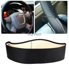 1pc Auto Car Truck Black Genuine Leather Steering Wheel Cover Elastic Protector