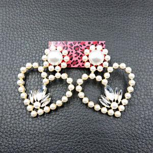 New Betsey Johnson Rare Alloy Rhinestone Crystal Pearl Love Heart Stud Earring