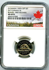 2017 O CANADA 150TH ANNIV 5 CENT NICKEL NGC MS69 PL PROOF LIKE TOP POP=5 RARE