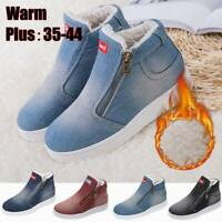 Women Fashion Denim Casual Shoes Loafers Winter Warm Fur Lined Ankle Snow Boots