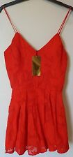 H&M Jacquard-Patterned Chiffon Playsuit Size 10 BNWT RRP £43.98 Red Uk Freepost