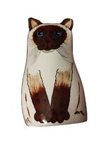 "Cats by Nina Lyman Pocket Flat Vase White w Brown Face Siamese 8"" Tall"