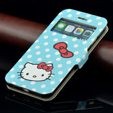 for iPhone 6 6S BLUE POLKA DOTS HELLO KITTY Leather Card Wallet Pouch