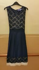 NEW PHOTOS SIZE 12 AUTONOMY NEW NAVY BLUE AND WHITE CALF LENGTH  DRESS LINED