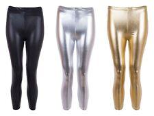 Kids Girls Shiny Disco Metallic Dance Leggings HARLEY QUINN CUSTOM COSTUMES FOIL