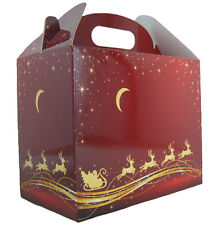 10 x RED GOLD REINDEER SLEIGH CHRISTMAS GABLE GIFT BOXES - XMAS Gift Hamper Box