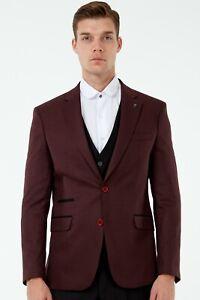 Jack Martin - Burgundy Micro Check Blazer / 3 Piece Mix & Match Wedding Suit