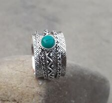 Turquoise 925 Sterling Silver Plated Spinner Ring Meditation Ring Size 8 TT0019