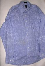 Gap Classic Fit Button-Up Long Sleeve Light Blue Foliage Shirt Sz XL SOME STAINS