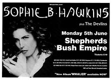 "Tour Poster~Sophie B. Hawkins 1995 Whaler Shepherds Bush ft. Devlins 30x40"" Nos~"