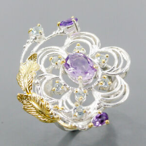 Unique fine Art Jewelry Amethyst Ring Silver 925 Sterling  Size 8 /R164213