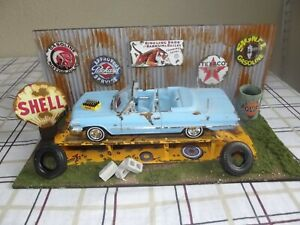 1/24 Scale Barn Find Weathered Diorama Custom 63 Impala Conv with Accessories