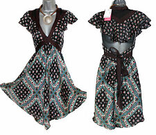 Monsoon noir imprimé floral atlantis papillon écharpe style dos ouvert robe UK10