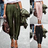 ZANZEA Femme Style Harlan Pantalon Taille elastique Poches Boutons Long Plus
