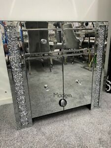 Deluxe Crushed Crystal Sideboard, 2 door mirrored sideboard with diamond finish